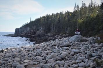 Beautiful rock beach with the elusive White Sasquatch