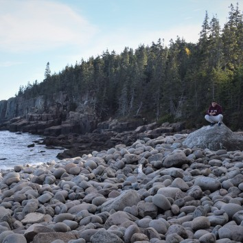 Beautiful rock beach with the elusive White Sasquatch